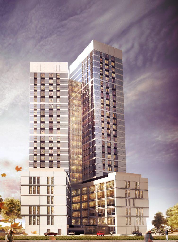 koncepcja architektoniczna budynku mieszkalno-biurowego - wizaualizacja