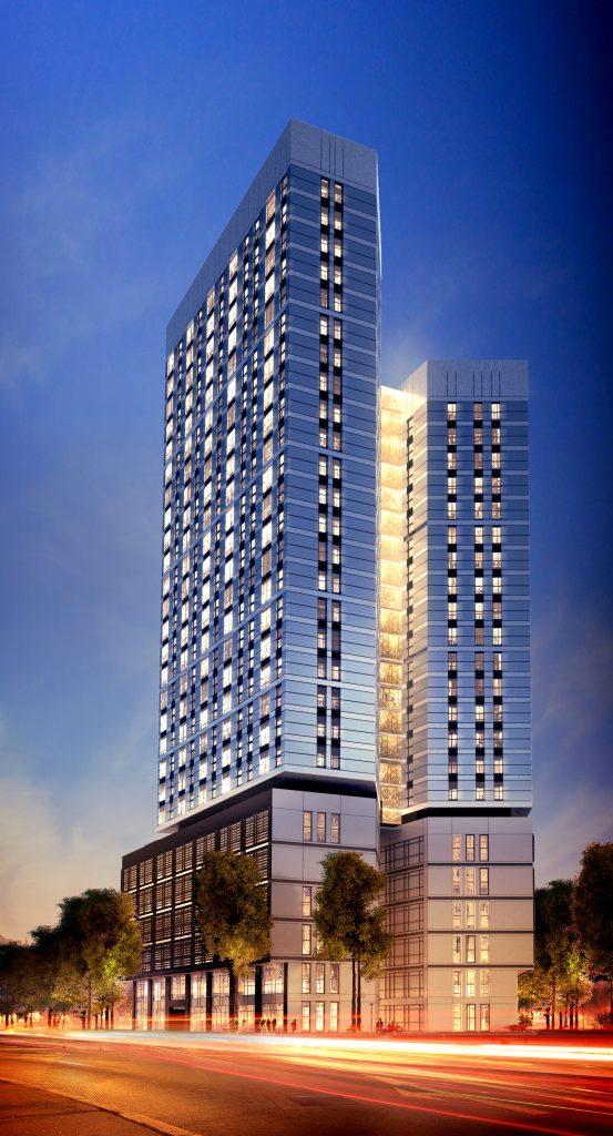 koncepcja architektoniczna wieżowca mieszkalno-biurowego w Warszawie